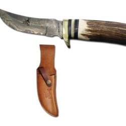 """Stg-2847Db Deer Horn D3Jpsrs Handle Skinner Knife. Damascus Bt3Edwowf Blade 10"""" Overall Ayeuiu56 Hlbv23Rt Handmade Skinner Knife. Hand Forged Welded Y9Cpbmwpf 1095 15N20 Carbon Steel With 576 Wyckzr2Mw Layers Damascus. 100% Deer Horn Handle. Includes Grad"""
