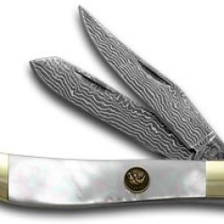 Hen & Rooster And Damascus Genuine Mother Of Pearl Mini Trapper Pocket Knife Knives