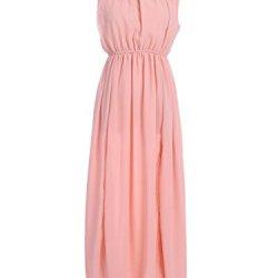 Anna-Kaci S/M Fit Pink Mini Ruffle Neckline Knife Pleats Low Back Maxi Dress