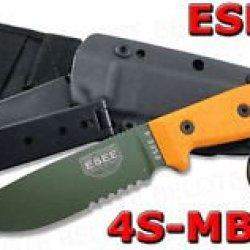 Esee Model 4 Serrated Edge W/ Black Kydex Molle Back Sheath