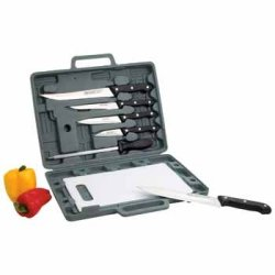 Knife Set With Cutting Board *** Product Description: Be A Chef-On-The-Go With This Complete Knife Set Which Includes: Chef Knife, Slicer, Boning Knife, Utility Knife, And Paring Knife All Of Which Are Housed In A Protective Case With A Cutting B ***