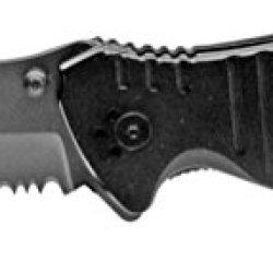Black Spring Assisted Opening Knife Surgical Steel Half Serrated Pocket Folder