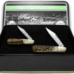 Hen & Rooster And Grandfather Grandson Set Genuine Deer Stag 1/500 Barlow Pocket Knife Knives