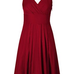 Eshakti Women'S Trapunto Trim Cotton Poplin Dress L-14 Short Crimson