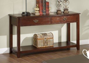 Image of Console Sofa Table with Drawers in Brown Cherry Finish (VF_F6217)
