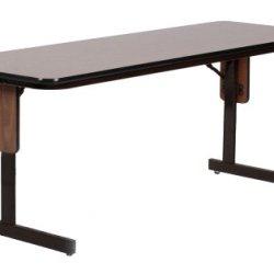 "Correll Sp2460Px 01 High Pressure Laminate Classroom, Training And Seminar Panel Leg Folding Table, Rectangular, 24"" Width X 60"" Length, Seats 2, Walnut"