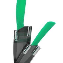 Melange 3-Piece Green Handle Black Blade Ceramic Knife Set
