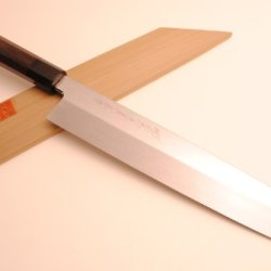 Yoshihiro Shiroko Honyaki Mirror Finished Kiritsuke Sword Japanese Multipurpose Sushi Sashimi Chefs Knife 10.5 Inch (270Mm) Ebony Handle