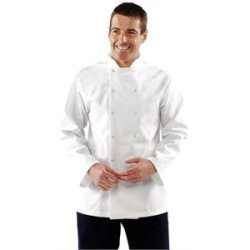 "Long Sleeve White Chef Coat Polycotton. Size: M (To Fit Chest 40 - 42"")"
