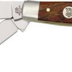 Queen Cattle King Curly Zebra Fold Knife, D2 Tool Steel Clip, Sheepsfoot And Spey Blades, 3313