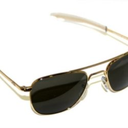 American Optical Original Pilot Eyewear 55Mm Gold Frame With Bayonet Temples And True Color Gray Polarized Glass Lens