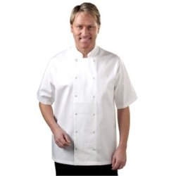 "Short Sleeve White Chef Coat Polycotton. Size: S (To Fit Chest 36 - 38"")"