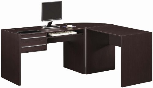 Picture of Comfortable 3pc Home Office Computer Desk with Storage Drawers in Cappuccino Finish (B0057POO8M) (Computer Desks)