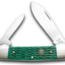 Hen & Rooster And Green Picked Bone Canoe Pocket Knife Knives