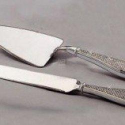 White Glitter Cake Knife & Server Set