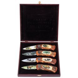 New Maxam 4Pc Wildlife Lockback Knife Set In Wood Presentation Box