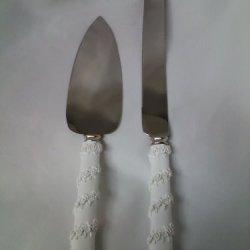 White Poly Resin Rose Wrap Cake Knife & Server Set