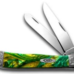 Case Xx Engraved Bolster Series Genuine Cats Eye Corelon Trapper Pocket Knives