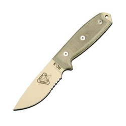 Esee-3 Fixed Blade Knife (Combo Edge, Tan/Green, Brown Sheath)