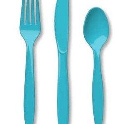 Premium Plastic Cutlery Assortment Bermuda Blue 288 Ct