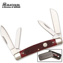 Magnum Knives Sc100 Bonsai Congress Pocket Knife With Red Jigged Bone Handles