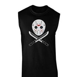 Scary Mask With Machete - Halloween Dark Muscle Shirt - Black - Xl