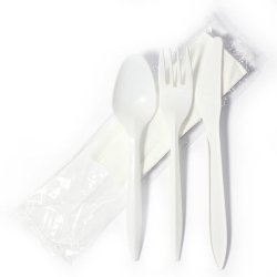 Baily 4Kitmw Medium-Weight Fork, Knife, Spoon, And Napkin Cutlery Kit (Case Of 250)