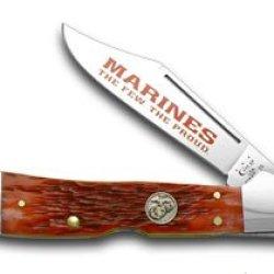 Case Xx Red Jigged Bone Marines The Few The Proud Copperlock Pocket Knife Knives