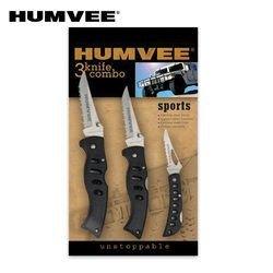 Humvee Half-Serrated Stainless Steel Tactical Knife Set (3-Pack), Black Finish