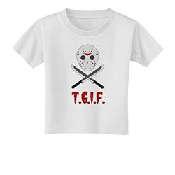 Scary Mask With Machete - Tgif Toddler T-Shirt - White - 4T