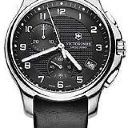 Swiss Army Mens Officers Chronograph Gift Set - Dark Grey/Black Knife - Leather
