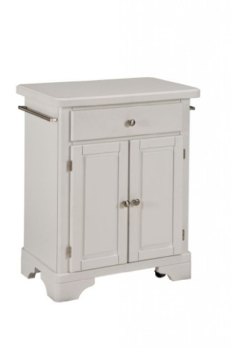 Image of Kitchen Cart with Wood Top in White Finish (VF_HY-9003-0021)