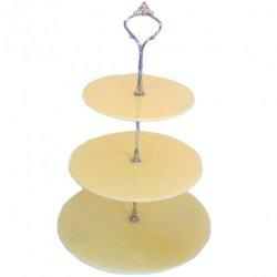 Three Tier Cream Circle Cake Stands - Medium + Silver Handle