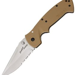 Crkt Crawford Kasper Partially Serrated Knife, Silver 6783D Desert Tan / Satin Bld