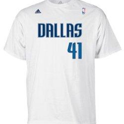 Adidas Dallas Mavericks Dirk Nowitzki White High Density Men'S T-Shirt (Small)