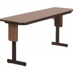 "Correll Sp1896Px 06 High Pressure Laminate Classroom, Training And Seminar Panel Leg Folding Table, Rectangular, 18"" Width X 96"" Length, Seats 4, Med Oak"