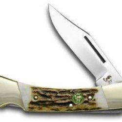 Hen & Rooster And Genuine Deer Stag Lockback Pocket Knife Knives