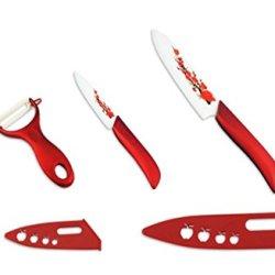 "Kitchen Dining Bar Red Zirconia Ceramic Fruit 3"" 5"" Inch Knife Set With Peeler"