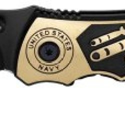 "3.25"" Pacific ""American Military"" Spring Assisted Tactical Rescue Knife - Navy - Bronze & Black"
