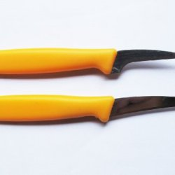 Set Fruit Carving Knife Plastic Handle Yellow.02.5 Inch 2 Pcs. Of Thailand