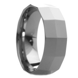 8 Mm Mens Tungsten Carbide Rings Wedding Bands Faceted Knife Edge - Free Engraving, Free Shipping & Lifetime Warranty - Size 7, 7.5, 8, 8.5, 9, 9.5, 10, 10.5, 11, 11.5, 12, 12.5
