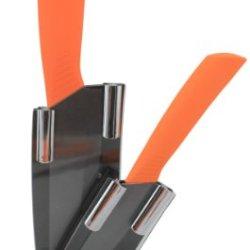 Melange 3-Piece Orange Handle Black Blade Ceramic Knife Set