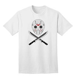 Scary Mask With Machete - Halloween Adult T-Shirt - White - Small