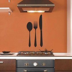 """Sweetums Signatures Spoon * Fork * Knife Vinyl Wall Decals 10"""" Wide X 20"""" Tall - 15 X 30 - Black"""