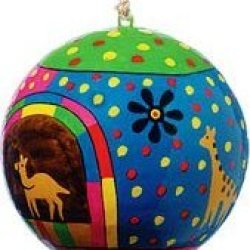 Lacquered Paper Mache Christmas Ornament- Animals On A Starry Night