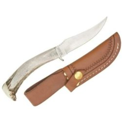Silver Stag Knives 6020 Deer Skinner Fixed Blade Knife With Crown Stag Handle