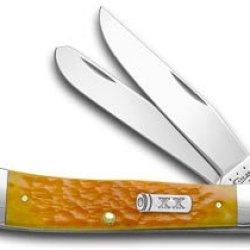 Case Xx Persimmon Orange Jigged Bone Trapper Pocket Knife Knives