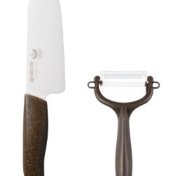 Kyocera Ceramic Knife Peeler Set Of 2 [10 Million This Breakthrough Memorial! Limited Model Giza Blade] Stone Brown G140Cpz-Sbr