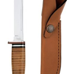 Case Cutlery 381 Case 316-5 Leather Hunter With Stainless Steel Fixed Blade Leather Hunter