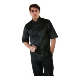 "Vegas Short Sleeve Chefs Jacket - Black Polycotton. Size: S (To Fit Chest 36 - 38"")."